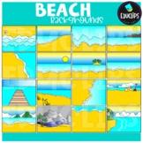 Beach Backgrounds Clip Art Set {Educlips Clipart}