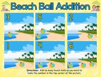 Beach Ball Addition 1-6 Common Core Alligned