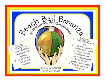 Beach Ball Bonanza:  An All-About-Me WH- Question game