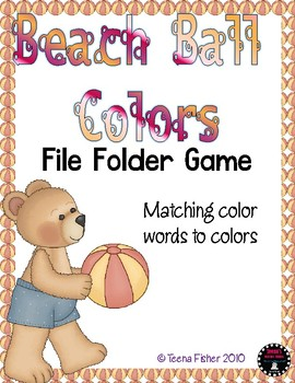 Beach Ball Colors File Folder Game Literacy Center Color Words