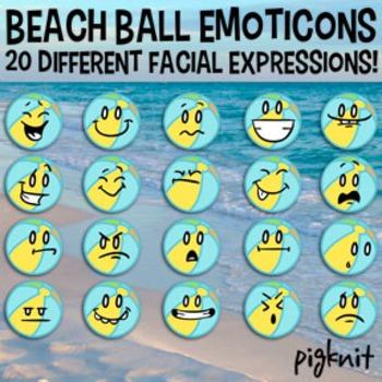 Beach Ball Emoticons Clip Art | 20 Facial Expressions | Summer Vacation