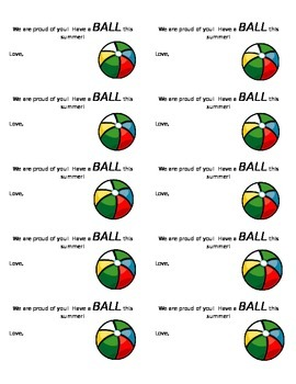 Beach Ball End of the Year Label