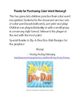 Beach Ball Fun Color Word Memory