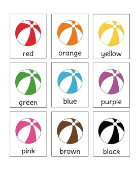 Beach Ball Fun Color Word Memory