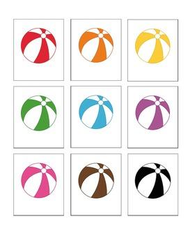Beach Ball Fun Color Word Memory CHALLENGE Edition