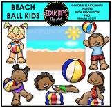 Beach Ball Kids Clip Art Mini Set {Educlips Clipart}