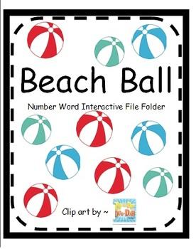 Beach Ball Number Word Comprehension File Folder