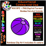 Beach Ball - Rainbow Clipart - 12 Colors - Commercial Use {Simple Clips}