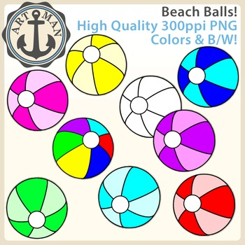 Beach Balls Clipart {Anchor Art Man}