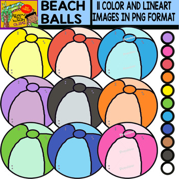 Beach Balls - Colorful Cliparts Set - 11 Items