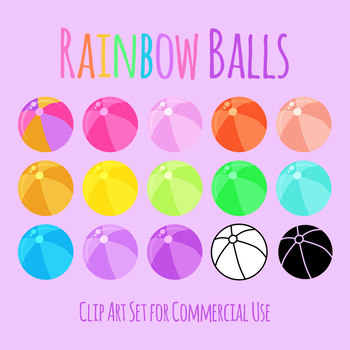 Beach Balls in Rainbow Colors Clip Art Set for Commercial Use