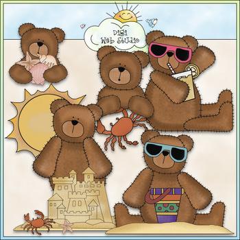 Beach Bears - CU Colored Clip Art