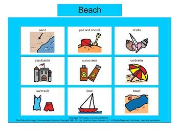 Beach Bingo! Single Board [speech therapy and autism]