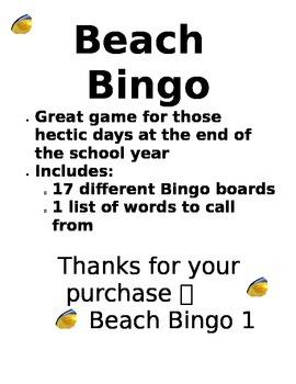 Beach Bingo