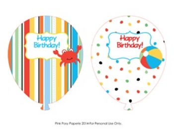 Beach Birthday Balloons - 4 Different Designs