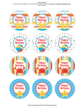 Beach Birthday Pencil Toppers