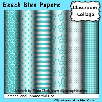 Beach Blue Digital Papers Set Color  personal & commercial use