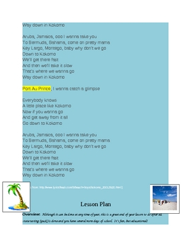 "Beach Boys' ""Kokomo"" Lesson Plan and Island Project (End-of-Year)"