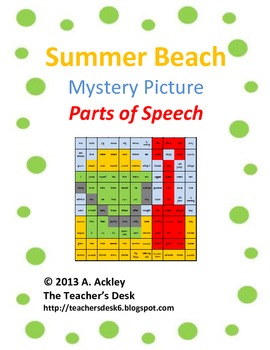 Beach Bucket Mystery Picture Parts of Speech