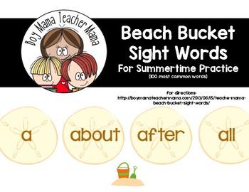 Beach Bucket Sight Words