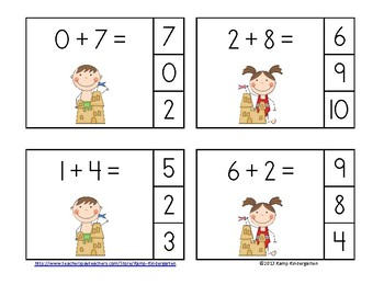 Beach Buddies Addition Math Centers Sums to 10
