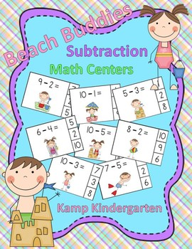 Beach Buddies Subtraction Math Centers Minuends to 10