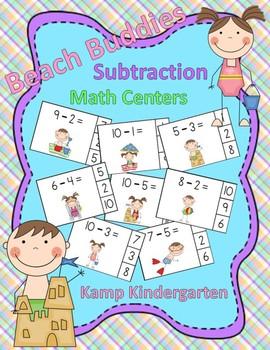 Beach Buddies Subtraction Math Centers (Minuends to 10)