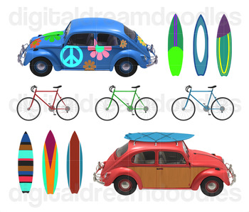 Beach Bug Car Clipart - Surfboard Digital Graphics