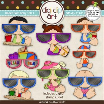 Beach Bum Baby Tots 1 -  Digi Clip Art/Digital Stamps - CU Clip Art