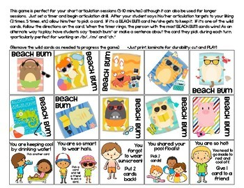 Quick Drill Summer Beach Bums {for speech therapy or any skill drill}