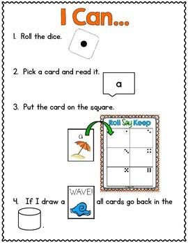 Beach Bums Roll Say Keep: Editable Alphabet, CVC & Sight Word Fun (CC Aligned)