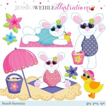 Beach Bunnies Cute Digital Clipart, Easter Bunny Clip Art