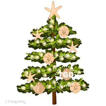 Beach Christmas Tree Clip Art Printable Tracey Gurley Designs
