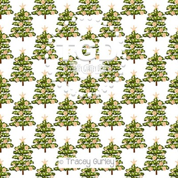 Beach Christmas Tree on White digital paper Printable Tracey Gurley Designs