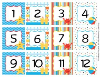 Beach Classroom Decor Monthly Calendar Numbers