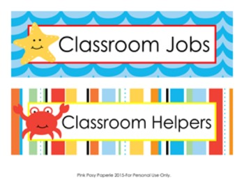 Beach Classroom Job Helpers Set