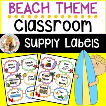 Beach Classroom Supply Labels (72+ Labels)