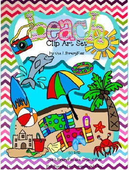 Beach Clip Art Set for Personal or Commercial Use