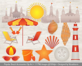 "Summer Beach Clipart, ""A Day At The Beach"" Clip Art Illustrations"