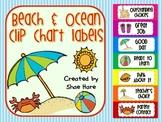 Beach Behavior Clip Chart Labels {ocean sand crab umbrella} Positive Behavior