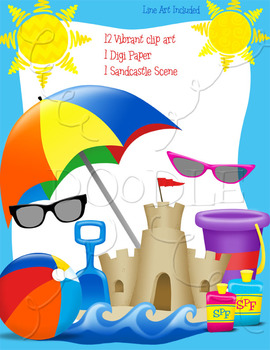 Beach Clipart - Umbrella, Sunglasses, Beachball, Sand Bucket