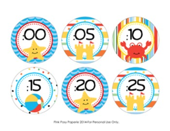 Beach Clock Number Labels