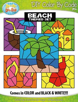 Beach Color By Code Clipart {Zip-A-Dee-Doo-Dah Designs}