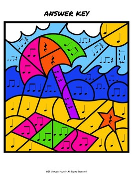 Beach Color By Music Note Rhythm - Quarter Note/Rest, Eighth Notes