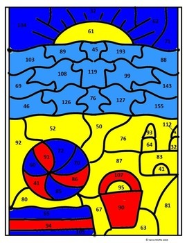 Beach Color by Number--Double Digit Addition and Subtraction