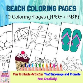 Beach Coloring Pages Set