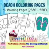 Beach Coloring Pages - Set of 10 - Commercial Use Allowed