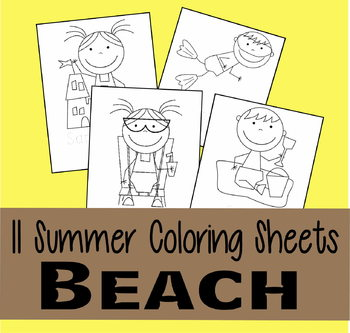 Beach Coloring Sheets for Summer