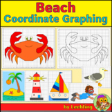 Beach Coordinate Graphing Mystery Pictures, Ordered Pairs, End of Year Activity