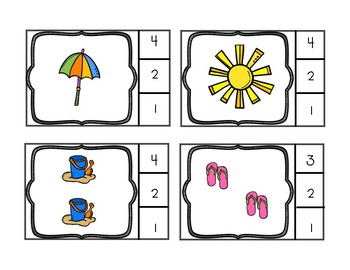 Beach Counting Clip Cards